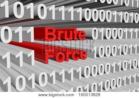 brute force in the form of binary code, 3D illustration