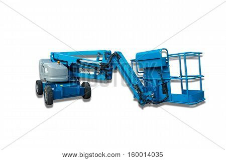 Lifting boom lift on isolation white background.