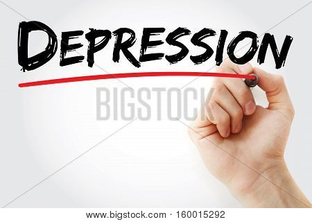 Hand Writing Depression With Marker