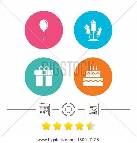 Birthday party icons. Cake and gift box signs. Air balloons and fireworks rockets symbol. Calendar, cogwheel and report linear icons. Star vote ranking. Vector