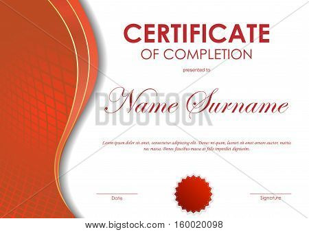 Certificate of completion template with red digital dynamic grid wavy background and seal. Vector illustration