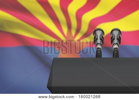 Pulpit And Two Microphones With Usa State Flag On Background - Arizona