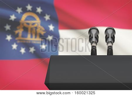 Pulpit And Two Microphones With Usa State Flag On Background - Georgia