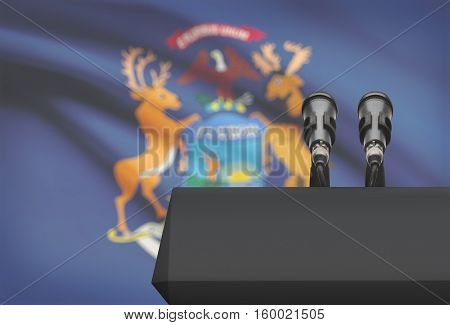Pulpit And Two Microphones With Usa State Flag On Background - Michigan