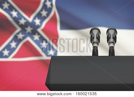 Pulpit And Two Microphones With Usa State Flag On Background - Mississippi