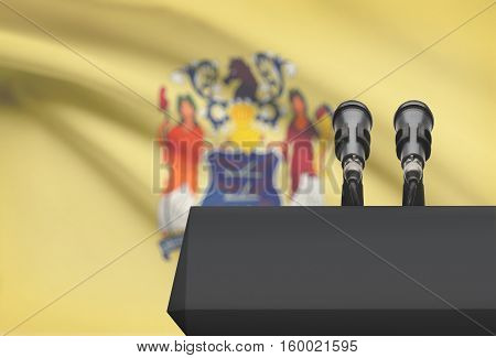 Pulpit And Two Microphones With Usa State Flag On Background - New Jersey