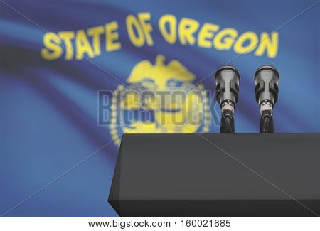 Pulpit And Two Microphones With Usa State Flag On Background - Oregon