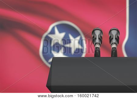 Pulpit And Two Microphones With Usa State Flag On Background - Tennessee