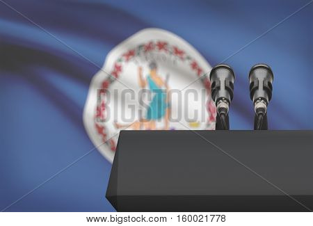 Pulpit And Two Microphones With Usa State Flag On Background - Virginia