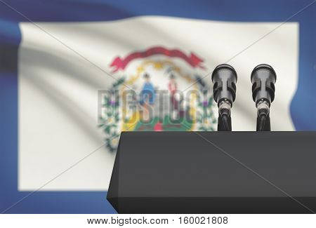 Pulpit And Two Microphones With Usa State Flag On Background - West Virginia