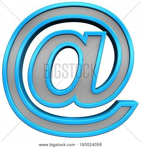E-mail sign from gray with turquoise frame alphabet set, isolated on white. 3D illustration.