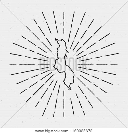 Vector Malawi Map Outline With Retro Sunburst Border. Hand Drawn Hipster Decoration Element. Black R