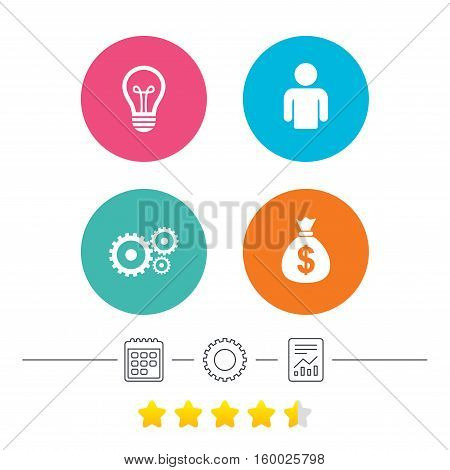 Business icons. Human silhouette and lamp bulb idea signs. Dollar money bag and gear symbols. Calendar, cogwheel and report linear icons. Star vote ranking. Vector