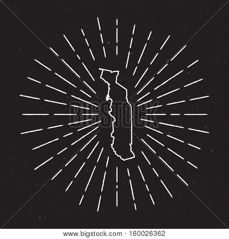 Togo Vector Map Outline With Vintage Sunburst Border. Hand Drawn Map With Hipster Decoration Element