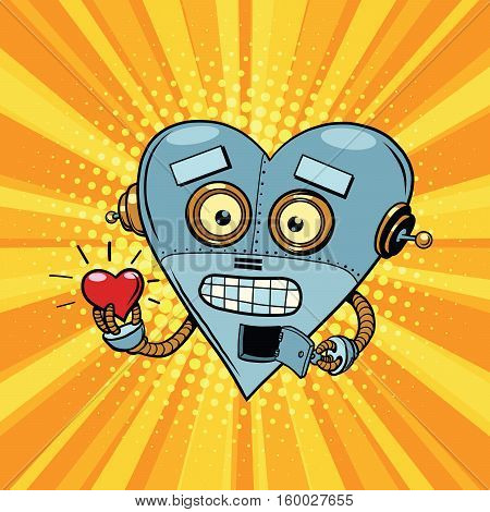Retro robot heart Valentine love and romance. Pop art illustration. Valentin day, holiday, wedding love and romance. artificial intelligence