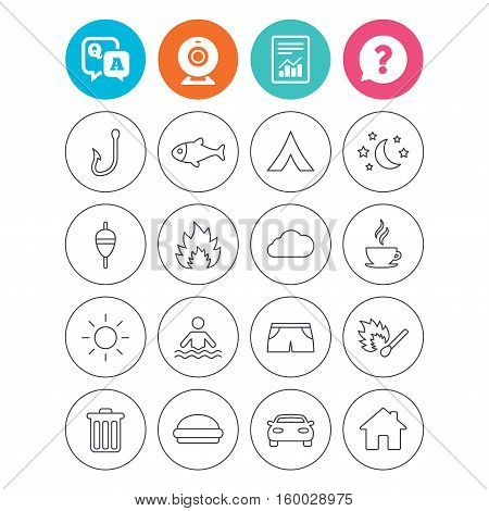 Camping and fishing icons. Tourist tent, fire and match symbols. Coffee cup and hamburger. Car and house. Fish, hook and float bobber thin outline signs. Report document, question and answer icons