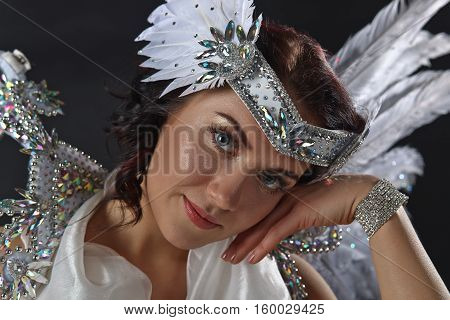 Young Beautiful Woman In Angel Costume , Natural Feathers