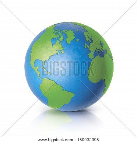 Color globe 3D illustration Asia & Australia map on white background