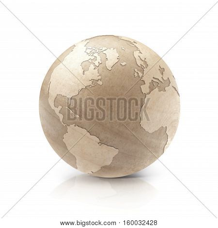 Wood globe 3D illustration North and South America map on white background