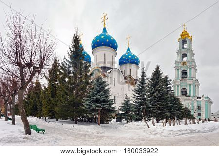 Old russian church in gloomy weather. The area of the largest monastery of the Russian Orthodox Church with a long history. Located in the center of Sergiev Posad, Moscow Region
