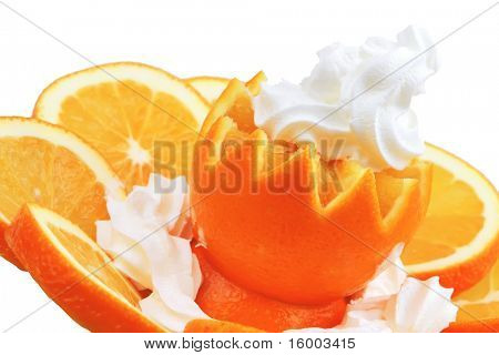 whipped cream and sliced fresh raw orange