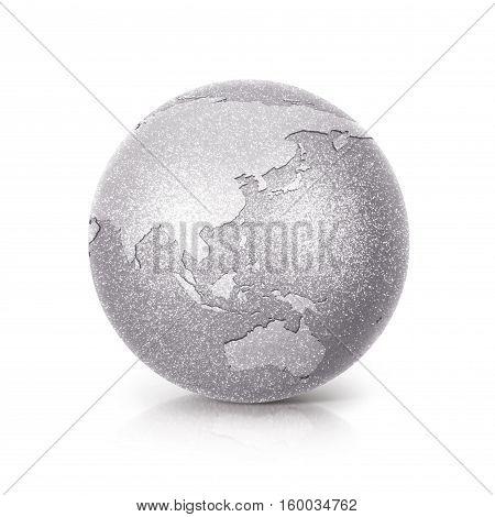 Silver Glitter globe 3D illustration Asia & Australia map on white background