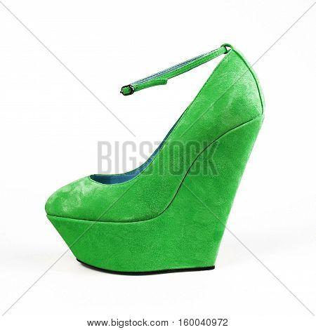 stylish female green shoes on white background