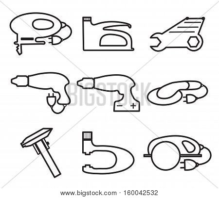 Mechanics Tools icons, modern line style. Element logo tools, isolated on a white background. Vector illustration