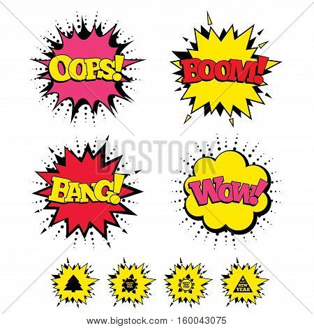 Comic Boom, Wow, Oops sound effects. Happy new year icon. Christmas trees signs. World globe symbol. Speech bubbles in pop art. Vector