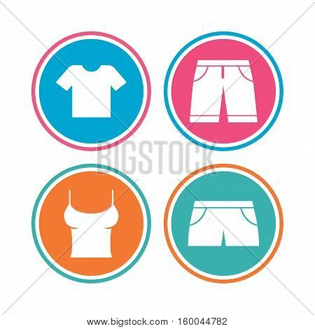 Clothes icons. T-shirt and bermuda shorts signs. Swimming trunks symbol. Colored circle buttons. Vector