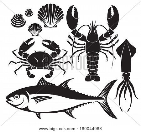 Seafood silhouette set. Lobster prawn crab tuna fish shellfish and squid. Vector Illustrations.