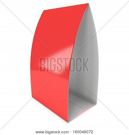 Red paper tent card. 3d render illustration isolated. Table card mock up on white background.