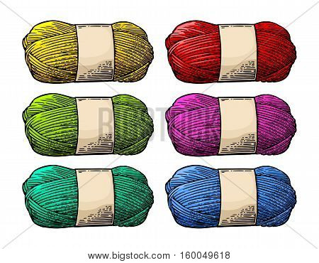 Det color roll yarn with woolen thread for knitting. Hand drawn in a graphic style. Vintage vector engraving illustration for info graphic poster web. Isolated on white background
