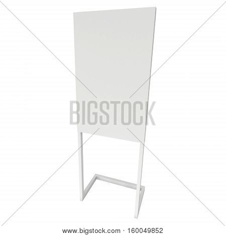 Blank Expo Banner Stand. 3d render Trade Show Booth isolated on white background