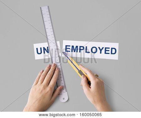 Unemployed Hand Cut Word Split Concept