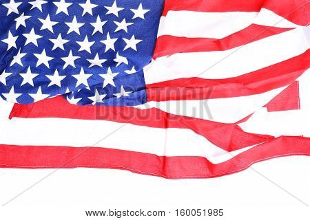 Close up shot of a US flag with copy space below