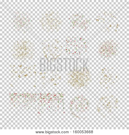 Holiday set of Falling tiny colorful and golden bright confetti pieces on white background. Vector Illustration.