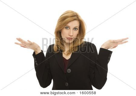 Businesswoman Gestures Confusion