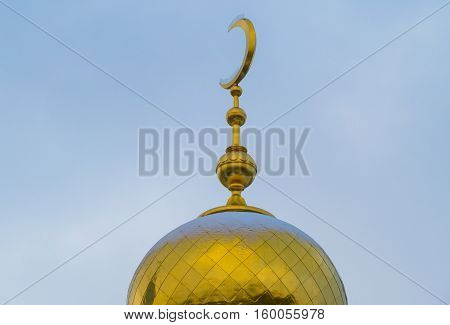 Moscow Cathedral Mosque, Russia, Islamic crescent 2016