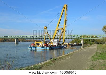 Barge with huge construction crane