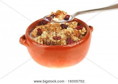 pot full of granola with nuts and drain berry