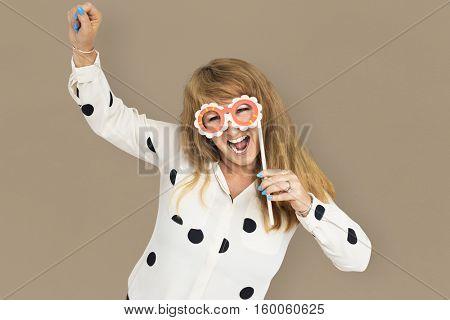 Mature Lady Having Fun Mask Carnival Concept