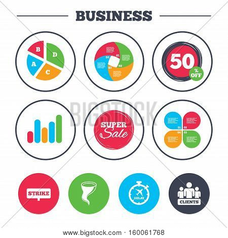 Business pie chart. Growth graph. Strike icon. Storm bad weather and group of people signs. Delayed flight symbol. Super sale and discount buttons. Vector