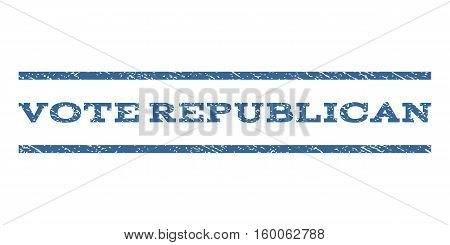 Vote Republican watermark stamp. Text tag between horizontal parallel lines with grunge design style. Rubber seal cobalt blue stamp with dirty texture. Vector ink imprint on a white background.