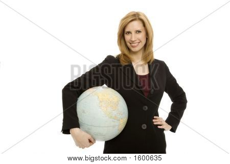 Businesswoman With Globe