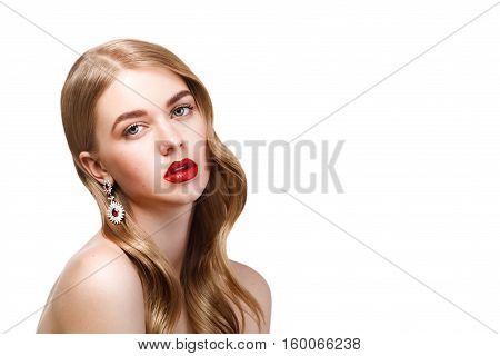 Fashion Portrait Of Young Beautiful Woman With Perfect Make-up And Hairstyle Isolated On White Backg