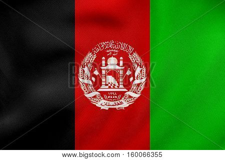 Flag Of Afghanistan Waving, Real Fabric Texture