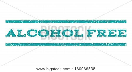 Alcohol Free watermark stamp. Text caption between horizontal parallel lines with grunge design style. Rubber seal cyan stamp with dust texture. Vector ink imprint on a white background.
