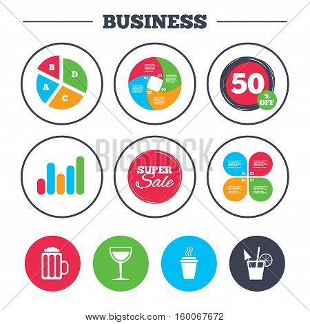 Business pie chart. Growth graph. Drinks icons. Take away coffee cup and glass of beer symbols. Wine glass and cocktail signs. Super sale and discount buttons. Vector