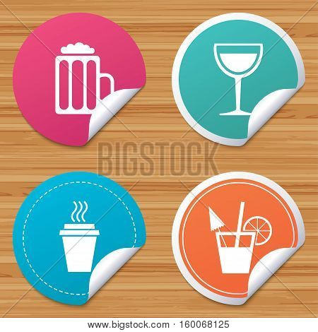 Round stickers or website banners. Drinks icons. Take away coffee cup and glass of beer symbols. Wine glass and cocktail signs. Circle badges with bended corner. Vector
